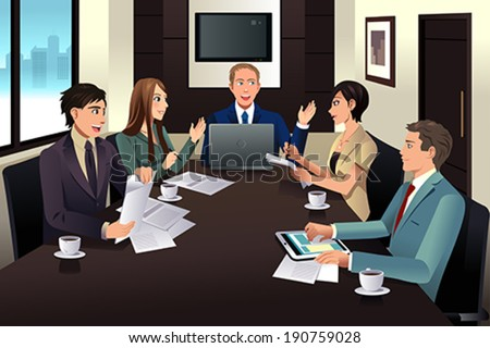 A vector illustration of business team meeting in a modern office - stock vector