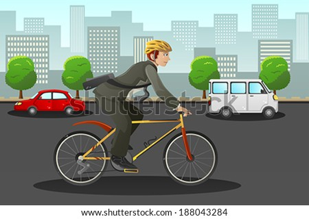 A vector illustration of businessman biking in the city - stock vector