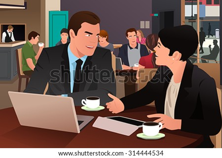 A vector illustration of businesspeople eating together in the cafeteria - stock vector