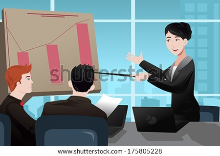 A vector illustration of businesswoman making a presentation