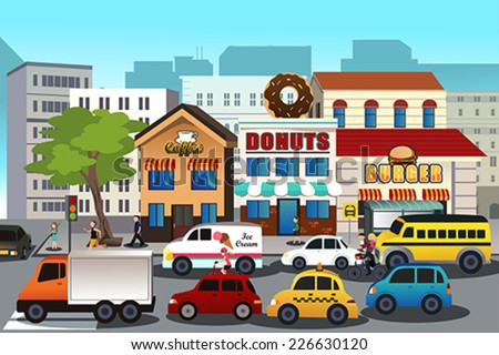 A vector illustration of busy city in the morning - stock vector
