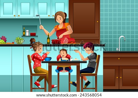 A vector illustration of busy mother in the kitchen with her kids - stock vector