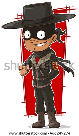 A vector illustration of cartoon cool hero in mask and hat