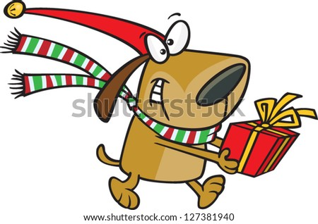 A vector illustration of cartoon dog wearing a santa hat and scarf carrying a present