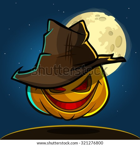 A vector illustration of cartoon Halloween pumpkin head in hat isolated on dark night background with a big full moon behind. Cartoon scarecrow