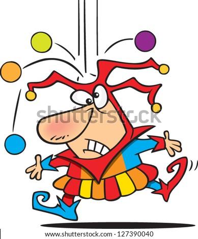 A vector illustration of cartoon joker with juggling balls falling on his head - stock vector