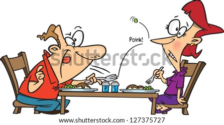 A vector illustration of cartoon man and woman eating dinner at a table and man is flinging food at the woman