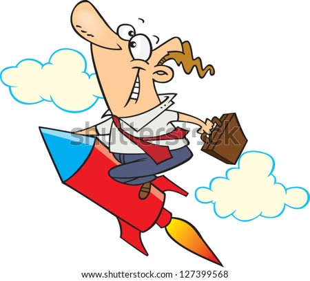 A vector illustration of cartoon man riding a rocket while holding a briefcase
