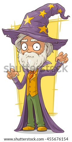 A vector illustration of cartoon old bearded wizard in big hat