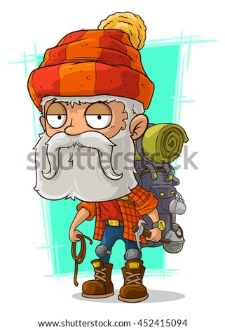 A vector illustration of cartoon old tired bearded climber