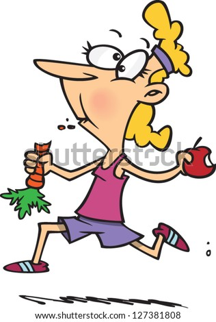 A vector illustration of cartoon woman running while eating fruits and vegetables - stock vector