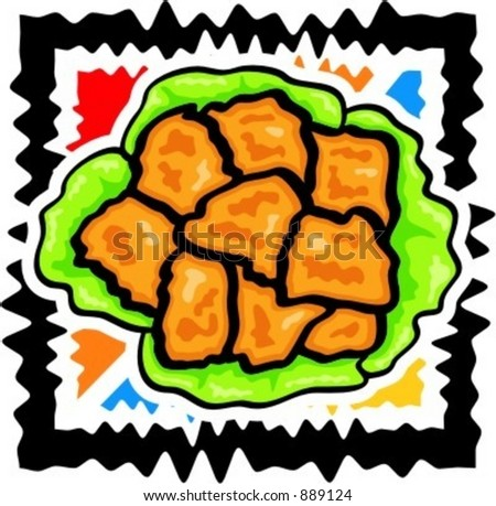 A vector illustration of  chicken nuggets in lettuce. - stock vector