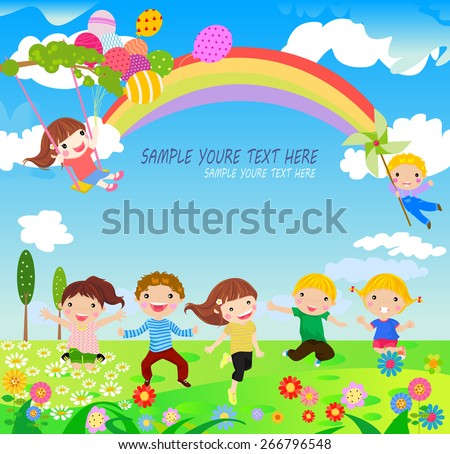 A vector illustration of children having fun playing outdoor during Spring season - stock vector