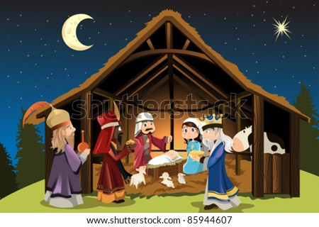 A vector illustration of Christmas concept of the birth of Jesus Christ with Joseph and Mary accompanied by the three wise men - stock vector