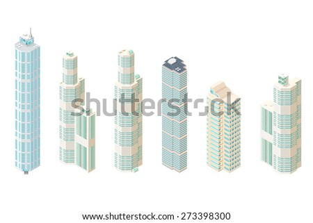 A vector illustration of city commercial skyscrapers. Isometric modern skyscraper icons. Urban city buildings set. - stock vector