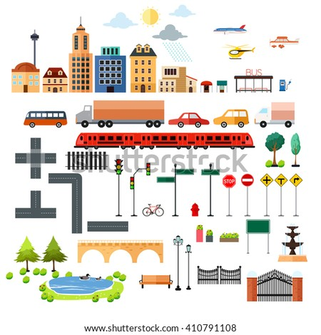 A vector illustration of city element icons - stock vector