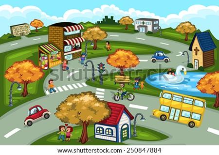 A vector illustration of city scene - stock vector