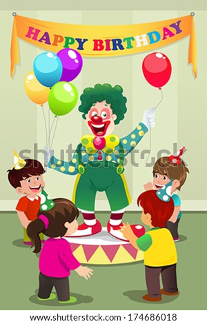 A vector illustration of Clown carrying balloons to kids birthday party - stock vector