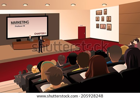 A vector illustration of college students listening to the professor in the auditorium - stock vector