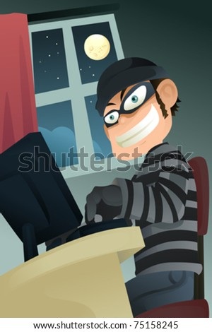 A vector illustration of computer criminal stealing identity - stock vector