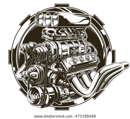 Engine pistons tattoo stock images royalty free images for Car motor tattoos