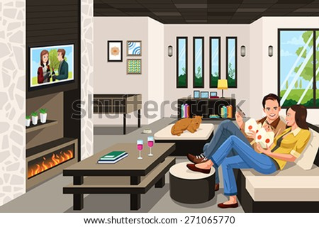 A vector illustration of couple eating take out Chinese food at home - stock vector