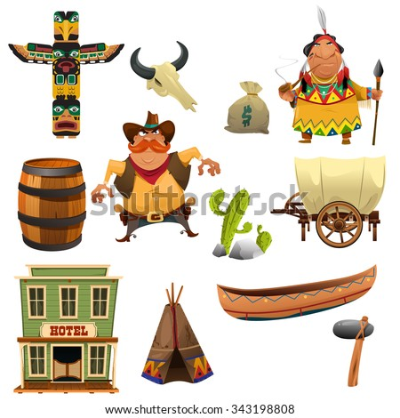 A vector illustration of cowboys and Indian icon sets - stock vector