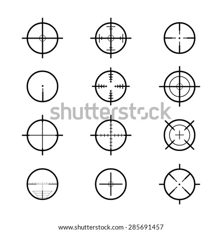 A vector illustration of cross hair sights. Crosshair icons and illustration. weapon sights.