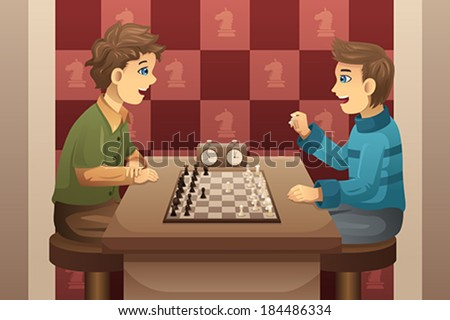 A vector illustration of cute happy kids playing chess - stock vector