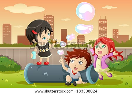A vector illustration of cute kids playing bubbles in the park - stock vector