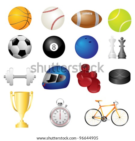 A vector illustration of different sport items icons - stock vector