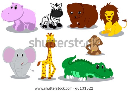 A vector illustration of different wild animals cartoons