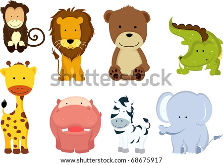 a vector illustration of different wild animals cartoons - Images Cartoon Animals
