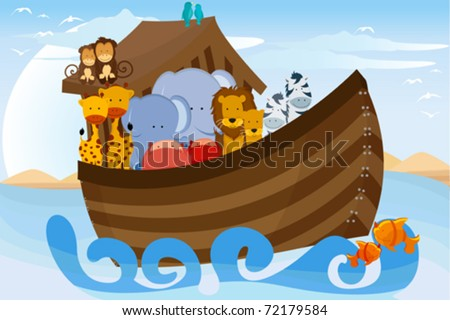 A vector illustration of different wildlife animals on Noahs Ark - stock vector