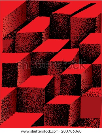 A vector illustration of 3 dimensional colorful tile pattern.  - stock vector