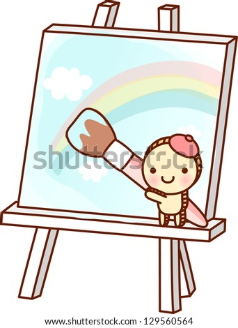A vector illustration of easel