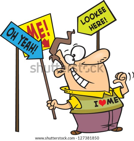 A vector illustration of egotistic cartoon man with signs promoting how awesome he is - stock vector