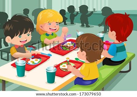 A vector illustration of elementary students eating lunch in cafeteria - stock vector