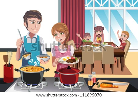 A vector illustration of family getting ready for dinner - stock vector