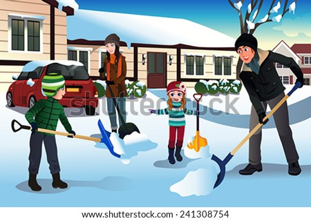 A vector illustration of family shoveling snow in front of their house - stock vector