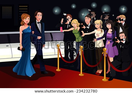 A vector illustration of fashionable couple going to a red carpet event - stock vector