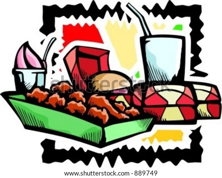 A vector illustration of fast foods including hamburgers, drink, chicken-legs and ice cream. - stock vector