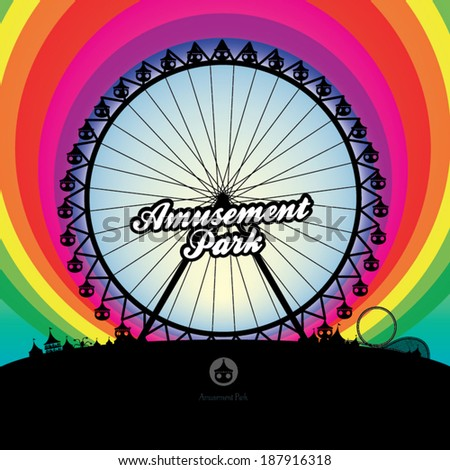 A vector illustration of ferris wheel and amusement park with rainbow background. - stock vector