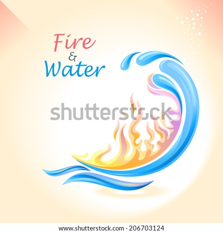 A vector illustration of fire and water. - stock vector