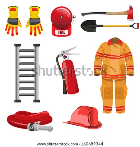 A vector illustration of firefighters icons - stock vector