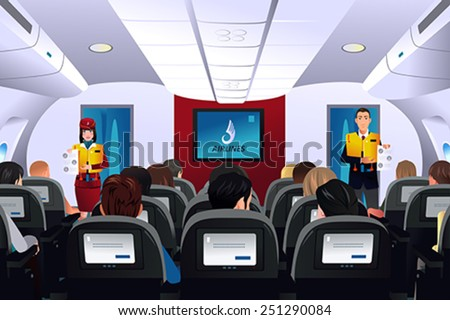 A vector illustration of flight attendant showing safety procedure to passengers - stock vector