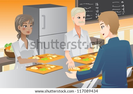 A vector illustration of food servers serving food to customers - stock vector