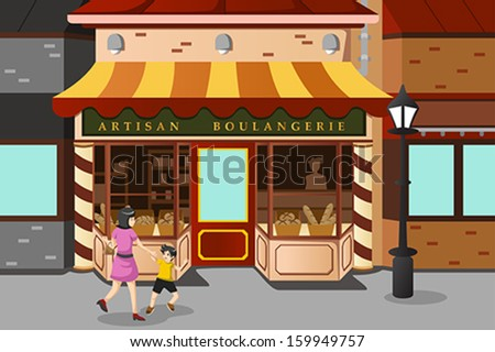 A vector illustration of French bakery store