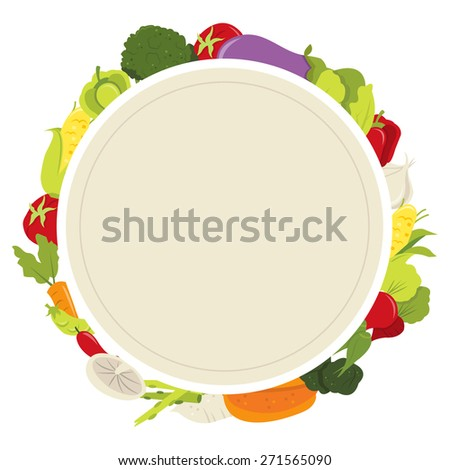 A vector illustration of fresh organic vegetables blank plate copy space. - stock vector