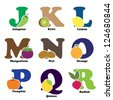 A vector illustration of fruit and vegetables in alphabetical order from J to R - stock vector